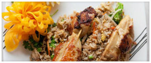 Chicken Skewers and Fried Rice